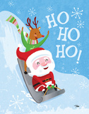 Santa Sledding Prints by Woo Teresa