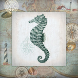 Nautical Seahorse Poster by Washburn Lynnea
