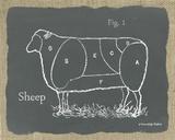 Sheep on Burlap Prints by Gwendolyn Babbitt