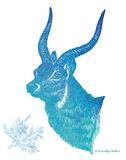 Indigo & Teal Deer II Prints by Gwendolyn Babbitt