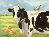 Spring Meadow Cow Posters by Gwendolyn Babbitt