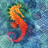 Seahorse Batik Sq Prints by Brent Paul