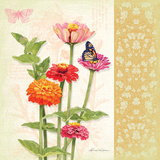 Zinnias I Poster by Washburn Lynnea