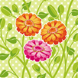 Zinnias II Poster by Young Patty