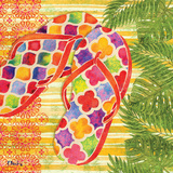 Red Sarasota Sandals I Posters by Brent Paul
