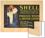 Shell Oil Ad, Goddess British Empire, 1924 Wood Print by Jean D'Ylen