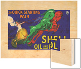 Shell Oil & Petrol Ad, Quick Starting Horses, 1926 Wood Print by Jean D'Ylen