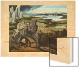 Saint Jerome dans un paysage  vers 1480-1524 Wood Print by Joachim Patinir