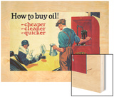 Shell Motor Oil Add, Buy Oil Cheap Clean Quick, 1925 Wood Print by Tom Purvis