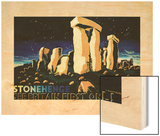 Shell Oil Ad, See Britain First Stonehenge, 1931 Wood Print by Edward McKnight Kauffer