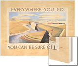 Shell Oil Ad, The Rye Marshes, 1932 Wood Print by Paul Nash
