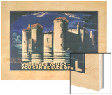 Bodiam Castle Shell Ad, 1932 Wood Print by Edward McKnight Kauffer