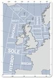 The Shipping Forecast Regions Map Plaque en métal