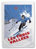 Les Trois Vallees, France Tea Towel Novelty