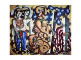 Composition aux deux p'rroquets, 1935 Lærredstryk på blindramme af Fernand Leger