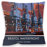 The Waterfront Cranes in Bristol Cushion - Throw Pillow