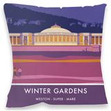 Winter Gardens, Weston-Super-Mare Cushion - Throw Pillow