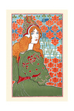 Woman Looking over Her Shoulder with Stylized Flowers in the Background Prints by Louis Rhead