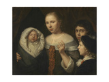 Portrait of a Young Woman with Three Children Poster von Wallerant Vaillant