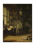 Young Man in a Study Print by Adriaen van Gaesbeeck
