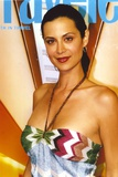 Catherine Bell wearing a Printed Sexy Halter Dress Photo by  Movie Star News