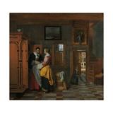 Interior with Women Beside a Linen Cupboard Art by Pieter de Hooch