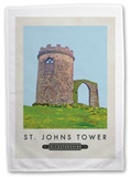 St Johns Tower, Leicestershire Tea Towel Novelty