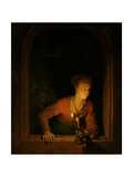 Girl with Oil Lamp at a Window Poster by Gerard Dou