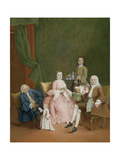 Portrait of a Venetian Family with a Manservant Serving Coffee Prints by Pietro Longhi