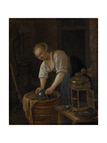 Woman Scouring Metalware Art by Jan Havicksz Steen