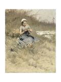 Girl Knitting Art by Bernardus Johannes Blommers