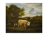 Hilly Landscape with Cows Poster by Adriaen van de Velde