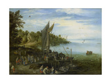 River Bank Print by Jan Brueghel