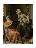 Tobit and Anna with the Kid Prints by  Rembrandt van Rijn