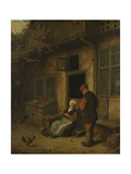 A Woman Gutting Herring in Front of Her House Posters by Adriaen Van Ostade