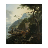 Boatmen Moored on the Shore of an Italian Lake Prints by Adam Pijnacker