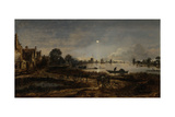 River View by Moonlight Poster by Aert van der Neer