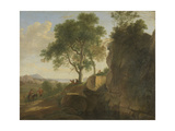 Italian Landscape with Heavy Rocks with Trees and a Pond Poster by Herman Van Swanevelt
