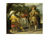 A Party Outdoors Print by Dirck Hals