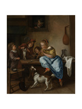 Children Teaching a Cat to Dance, known as the Dancing Lesson Prints by Jan Havicksz Steen