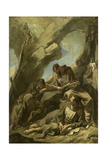 Three Capuchin Monks Meditating in Prayer before a Crucifix in a Cave Prints by Alessandro Magnasco