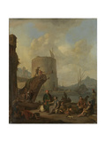 Italian Harbor with Fortress Tower on the Mediterranean Prints by Johannes Lingelbach