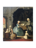 Family Group Near a Harpsichord, Cornelis Troost Print by Cornelis Troost