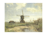 Landscape with a Mill Near the Water in the Foreground Left a Man with a Fishing Rod in a Shed Posters by Paul Joseph Constantin Gabriel