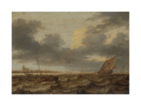 Seascape with Several Small Fishing Boats in Troubled Water Prints by Jan Porcellis