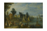 Village on the Bank of a River Prints by Joseph van Bredael
