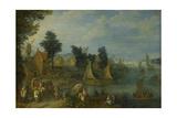Village on the Bank of a River Prints by Joseph van Bredael