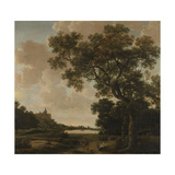 Landscape with a View from a Forest at the Swan Castle Cleves Giclée-Premiumdruck von Joris Van Der Haagen