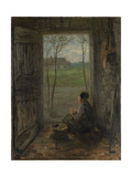 A Girl Sits in the Doorway of a House to Peel Potatoes Posters by Jozef Israels