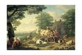 Rustic Scene with Woman Milking Prints by Jan van Gool